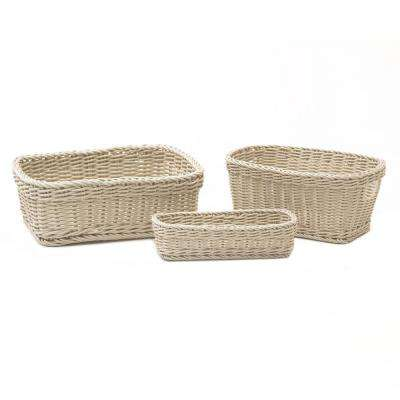 Nesting Wicker Weave Storage Basket (3-Piece) Ivory
