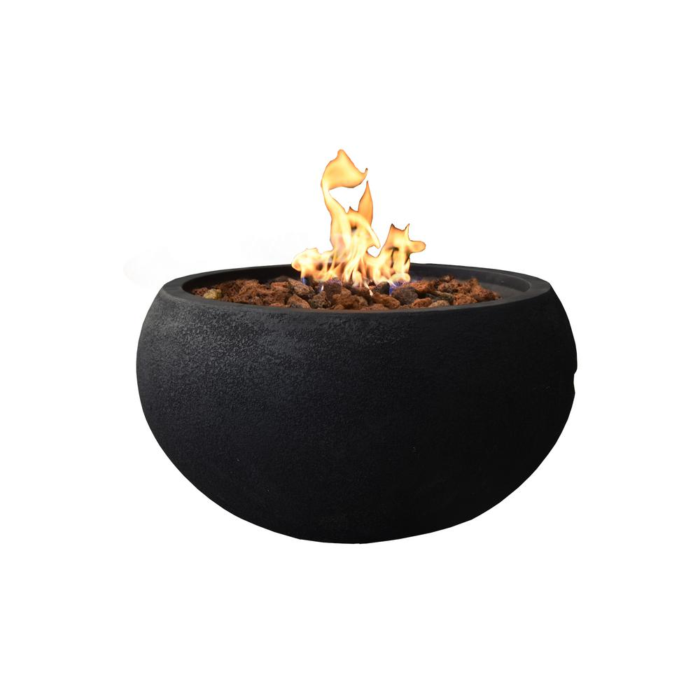 Modeno York 27 in. x 14 in. Grey Round Concrete Propane Fire Pit Table with Electronic Ignition Cover and Lava Rock