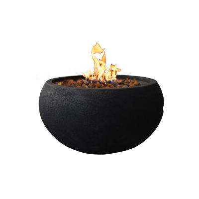 York 27 in. x 14 in. Grey Round Concrete Propane Fire Pit Table with Electronic Ignition Cover and Lava Rock