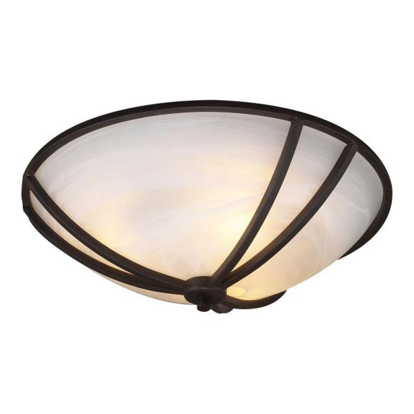 3-Light Ceiling Oil Rubbed Bronze Flush Mount with Marbleized Glass