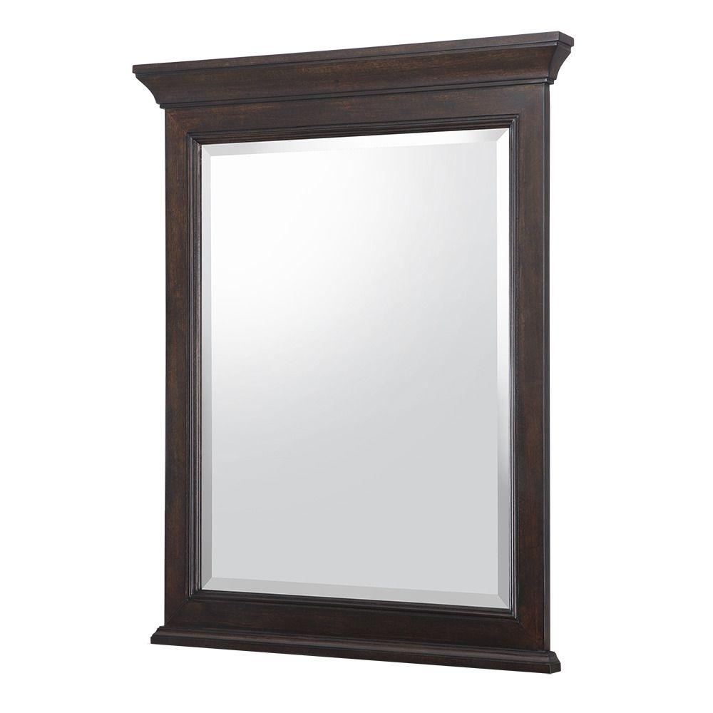 Home Decorators Collection Moorpark 24 in. W x 30.5 in. H Single Wall Hung Mirror in Burnished Walnut