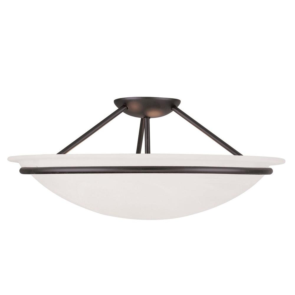 Livex Lighting Providence 3-Light Black Incandescent Ceiling Semi-Flush Mount