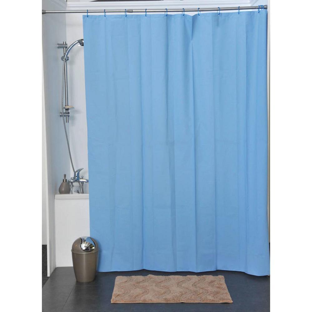 Solid Eva 71 in. x 79 in. Azure Blue Bath Shower Curtain