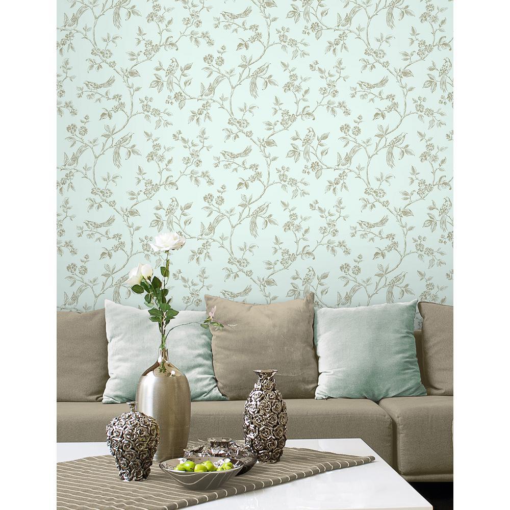 56.4 sq. ft. Jeanie Blue Tree Wallpaper