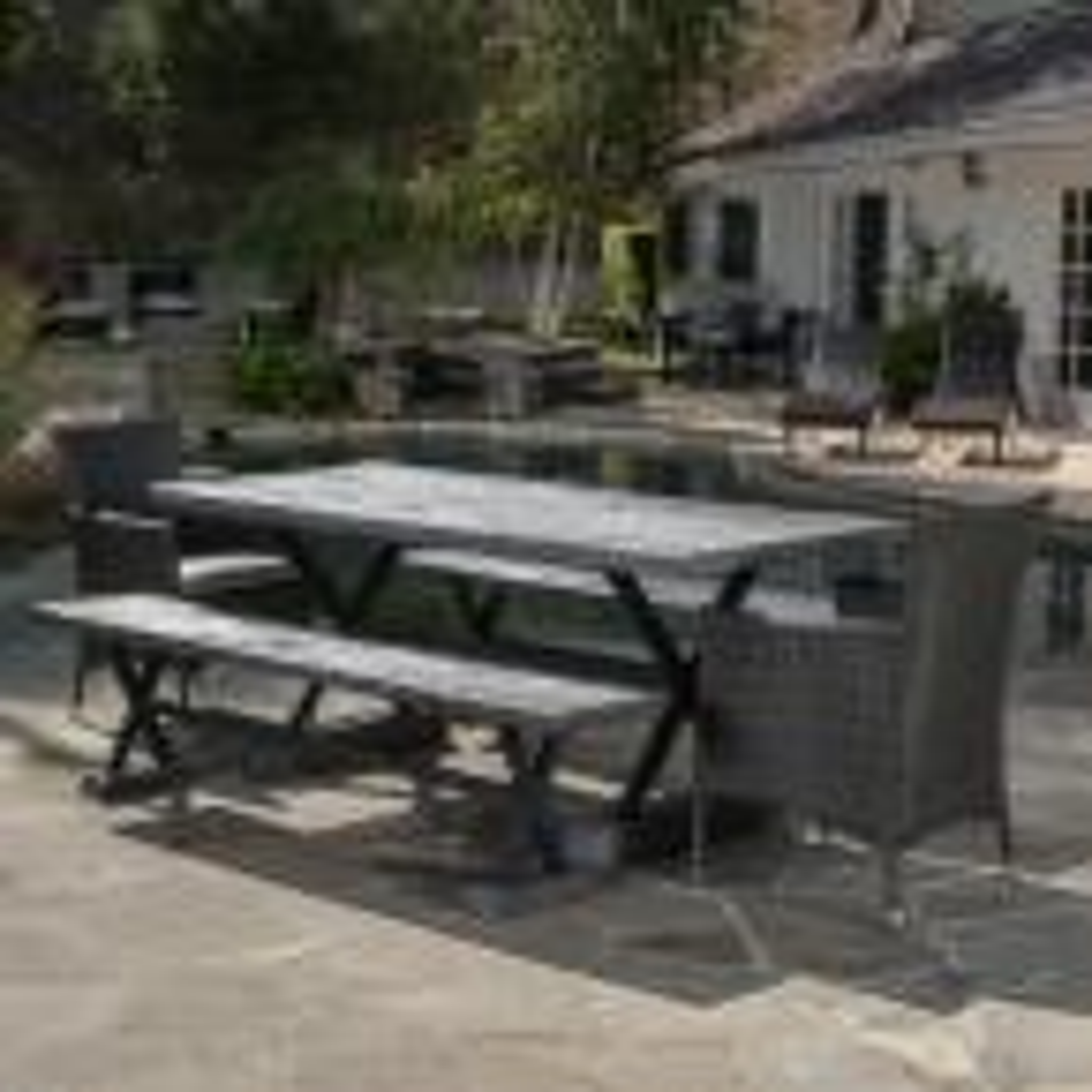 Numana Grey 5-Piece Wicker Outdoor Dining Set with Grey Cushions