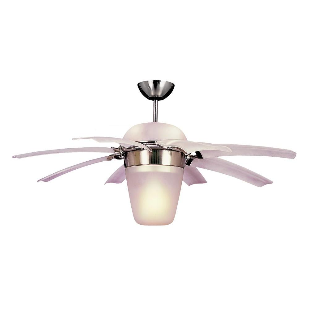 Brushed Steel Ceiling Fan With Clear Frost ABS Blades