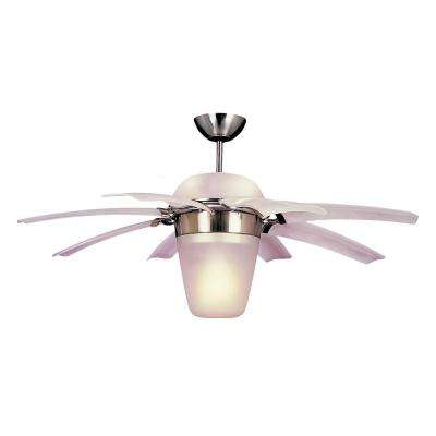 Airlift 44 in. Brushed Steel Ceiling Fan with Clear Frost ABS Blades