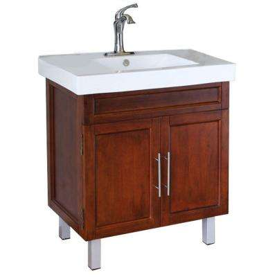 Flemish W 32 in. Single Vanity in Walnut with Porcelain Vanity Top in White