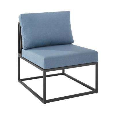 Metal Armless Middle Outdoor Patio Modern Modular Sectional Chair with Blue Cushions