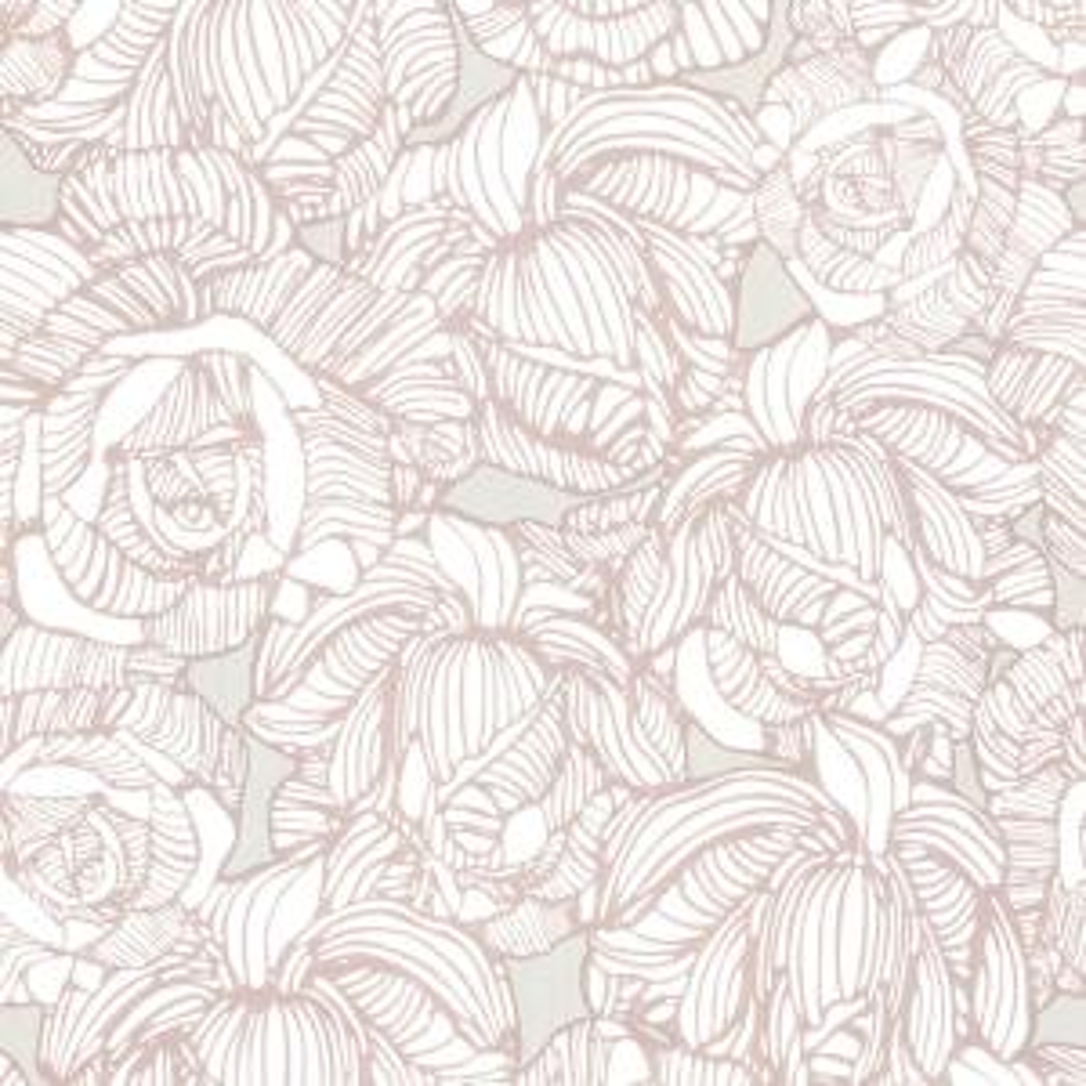 Calista Taupe Modern Rose Wallpaper Sample
