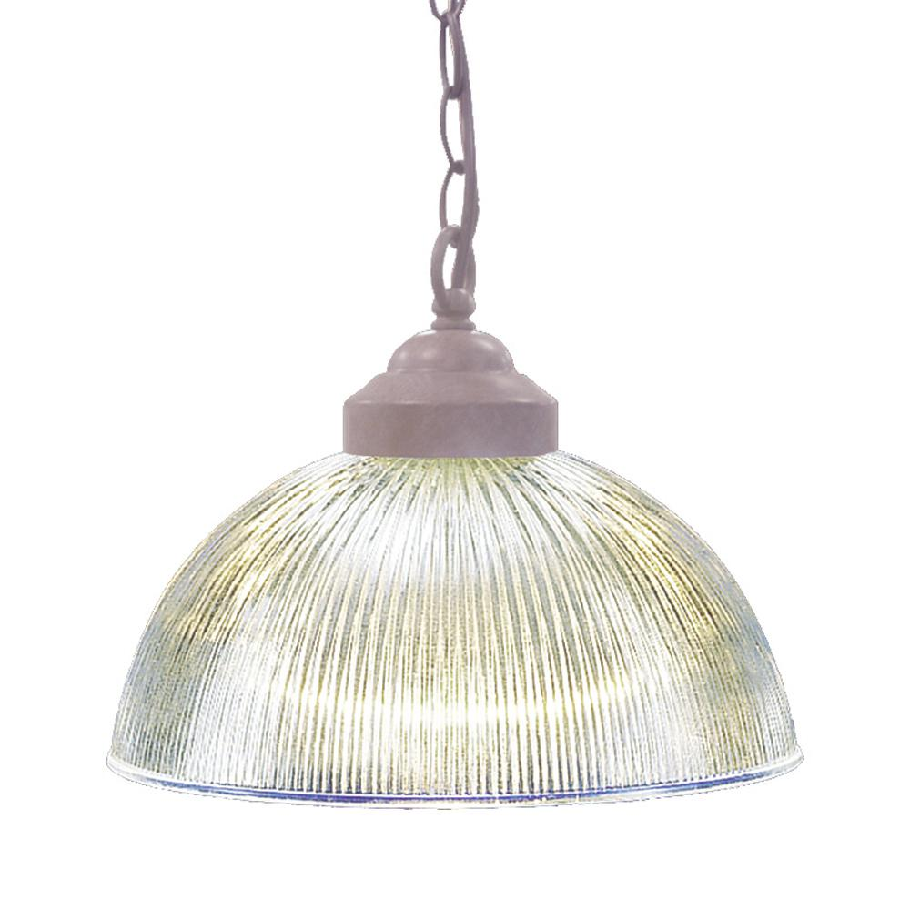 Volume Lighting 1-Light Interior/Indoor Prairie Rock Hanging Pendant with Clear Ribbed Glass Bowl Shade