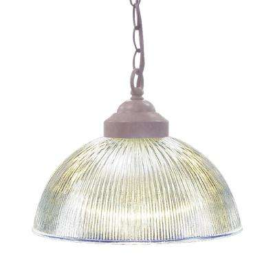 1-Light Interior/Indoor Prairie Rock Hanging Pendant with Clear Ribbed Glass Bowl Shade