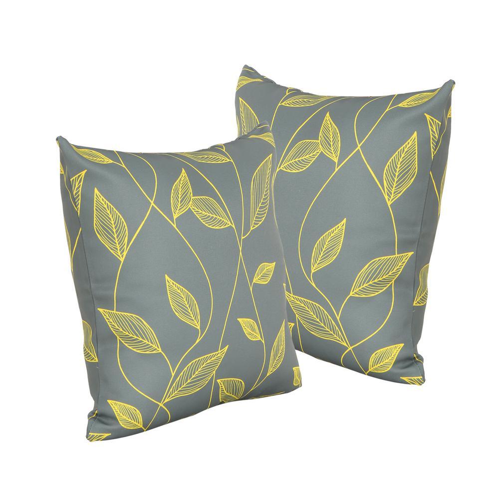 Magari Grey Square Outdoor Throw Pillows (2-Pack)