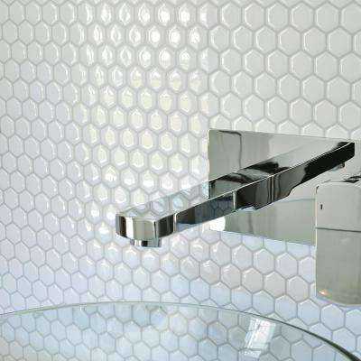 Hexago Approximately 3 in. W x 3 in. H White Decorative Mosaic Wall Tile Backsplash Sample