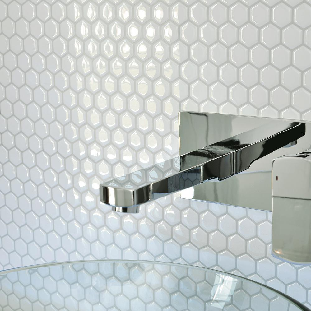 Hexago Approximately 3 in. W x 3 in. H White Decorative