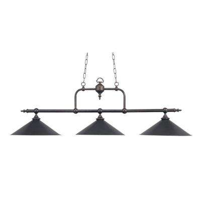3-Light Ceiling Mount Tiffany Bronze Island Light
