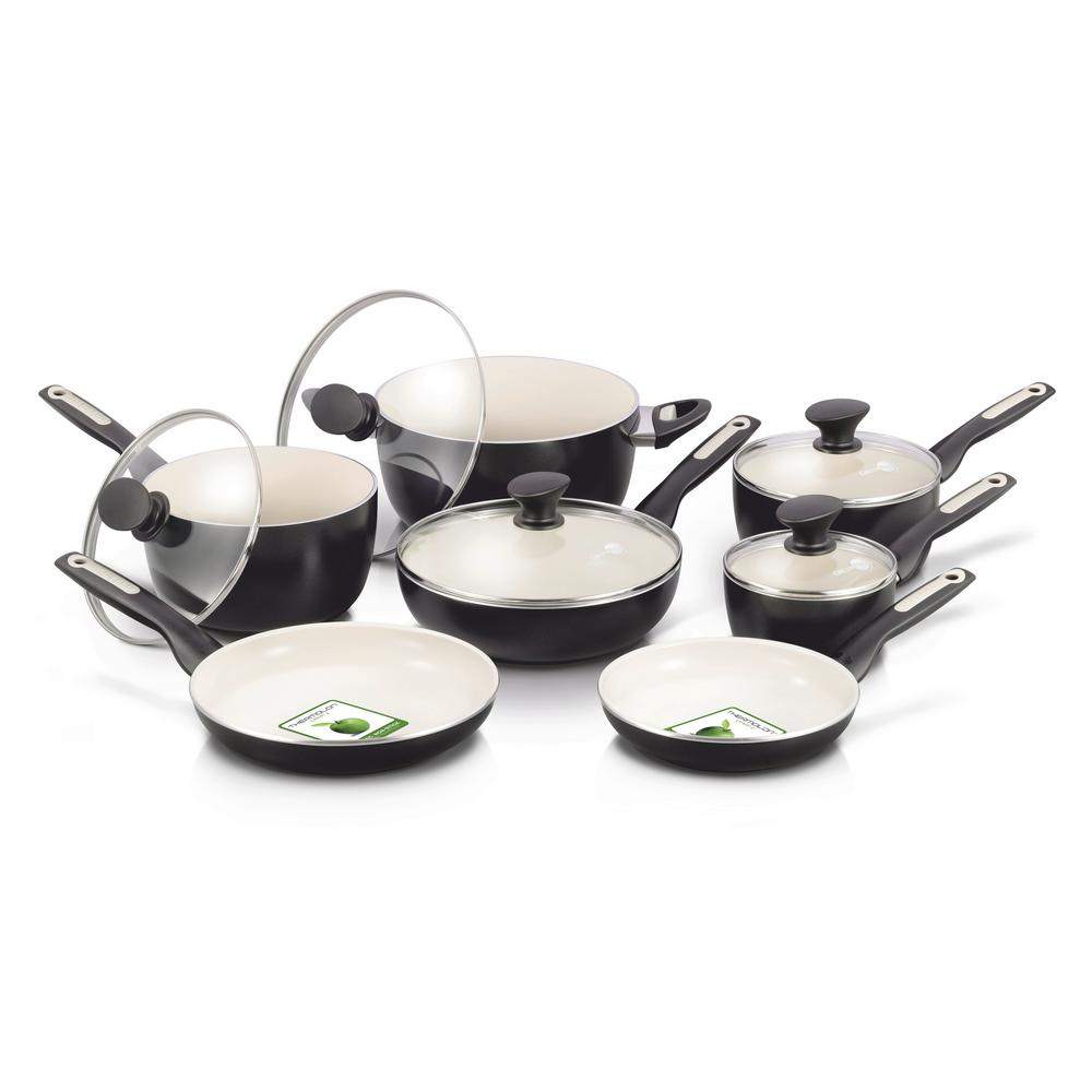 GreenPan Rio Ceramic Nonstick 12-Piece Cookware Set, Blac...