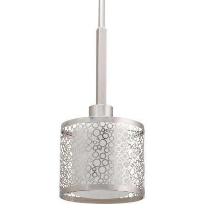Mingle Collection 1-Light Brushed Nickel Mini Pendant with Etched Parchment Glass