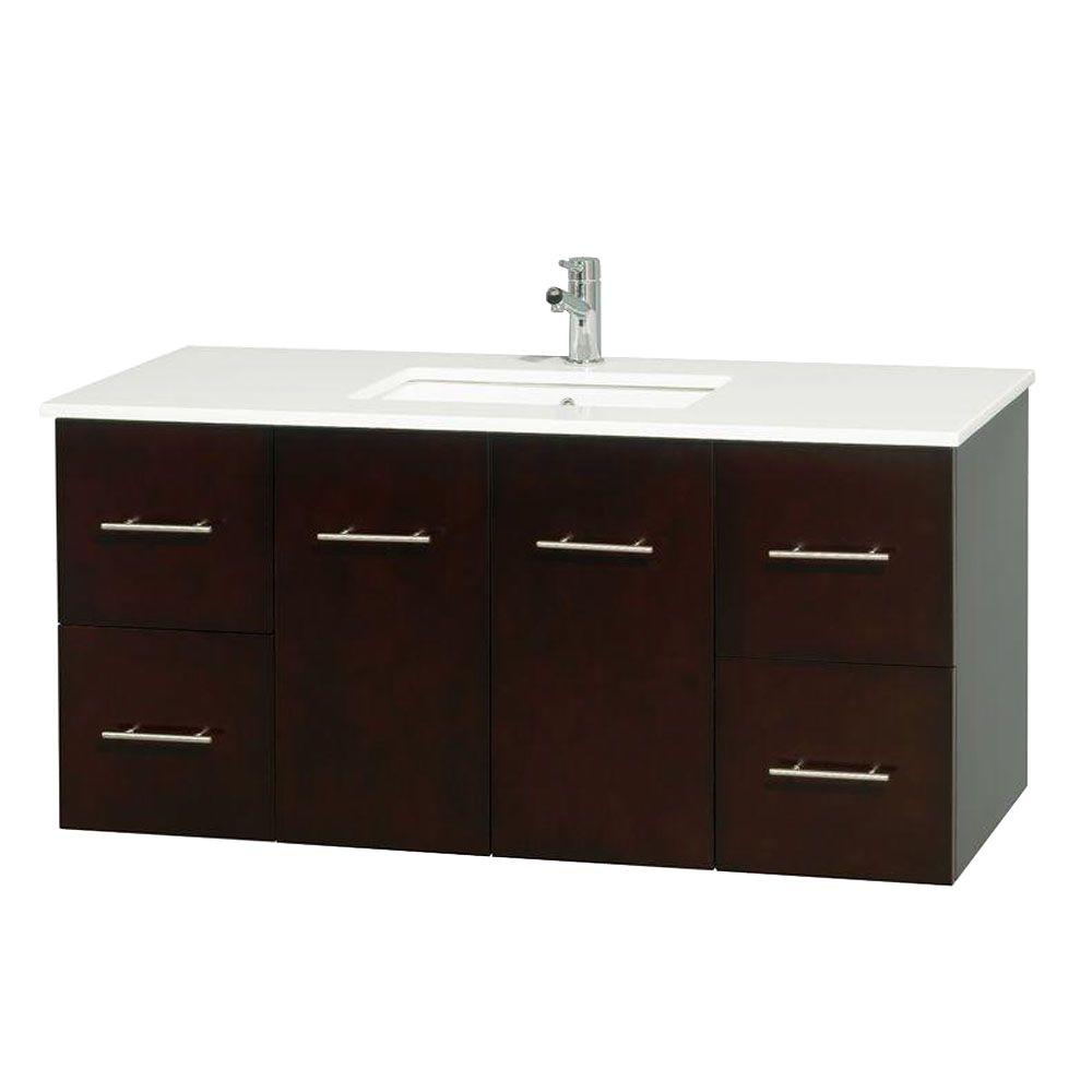 Wyndham Collection Centra 48 in. Vanity in Espresso with Solid-Surface Vanity Top in White and Undermount Sink