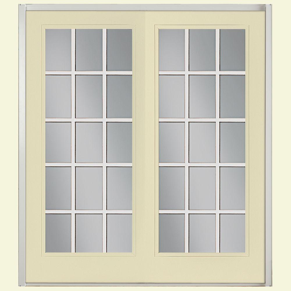 Steel patio doors exterior doors the home depot 60 in x 80 in golden haystack prehung left hand inswing 15 planetlyrics Image collections