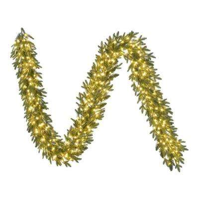 9 ft. Pre-Lit LED Artificial Majestic Brilliance Fir Christmas Garland with 780 Tips and 300 Warm White Fairy Lights