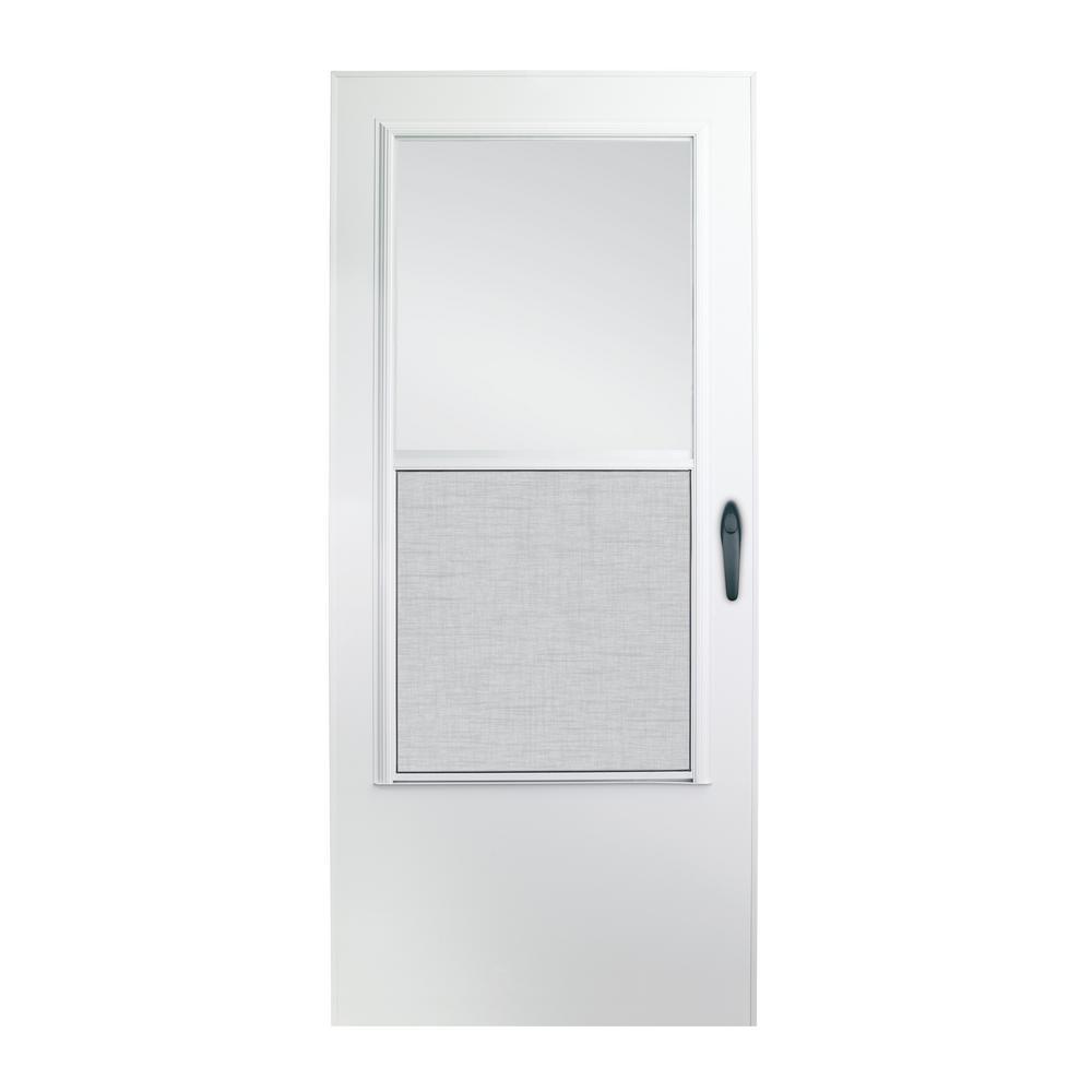 36 in. x 80 in. 100 Series White Self-Storing Storm Door