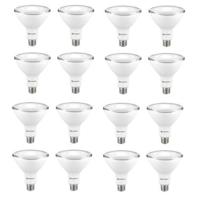90-Watt Equivalent PAR38 Non-Dimmable Flood LED Light Bulb Bright White (16-Pack)