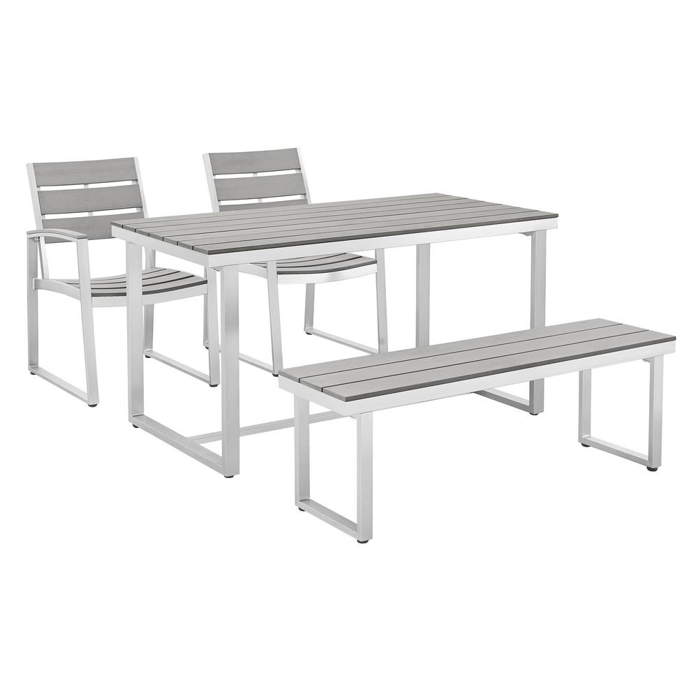 Captivating Walker Edison Furniture Company All Weather Grey Aluminum Outdoor Dining Set  (4 Piece