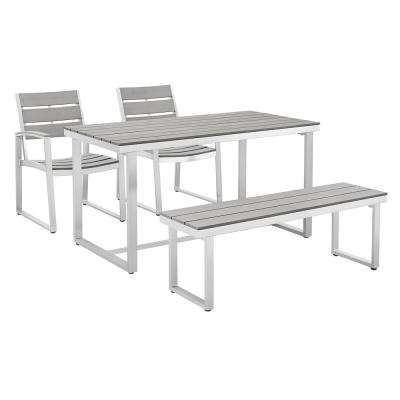 All-Weather Grey Aluminum Outdoor Dining Set (4-Piece)