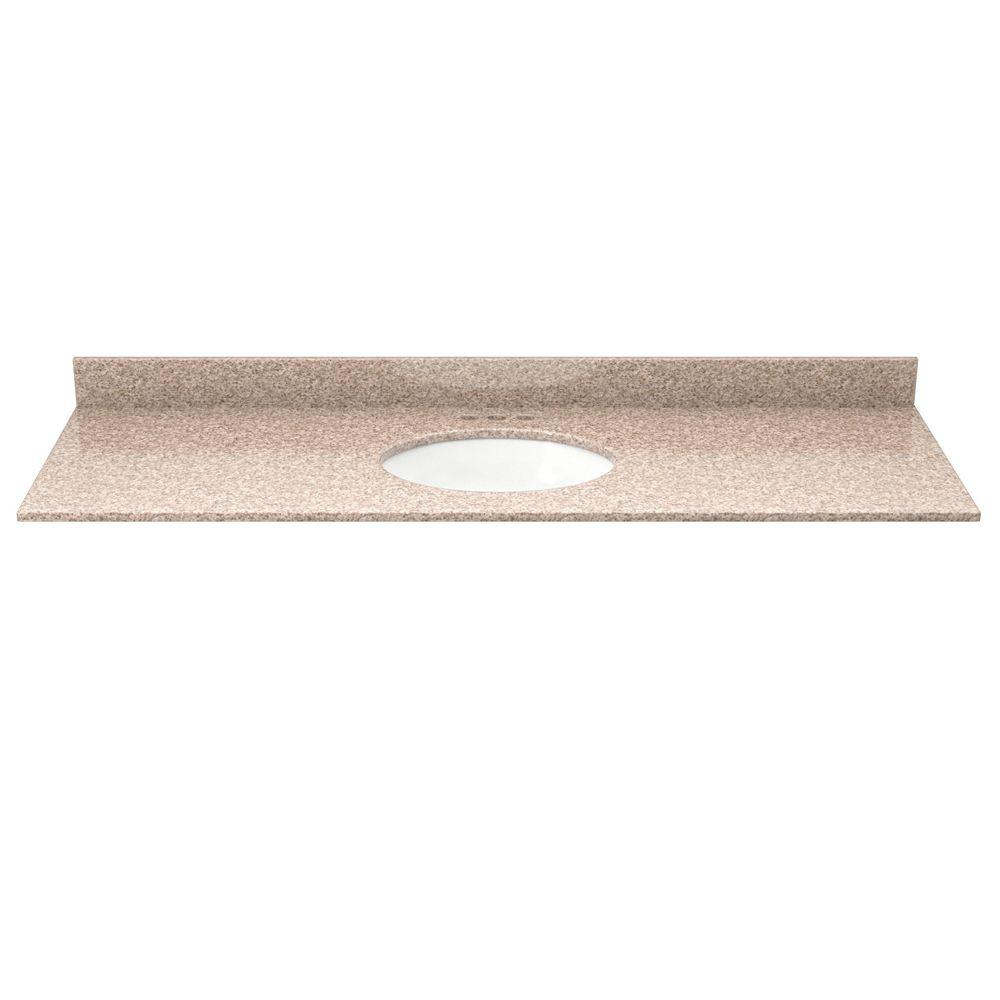 49 in. Granite Vanity Top in Wheat with White Basin