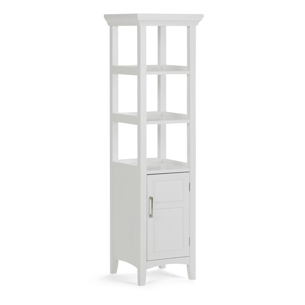 Simpli Home Avington 15.8 in. W x 15.8 in. D x 56.3 in. H Bath Linen Storage Tower Cabinet with 3 Open Shelves in White