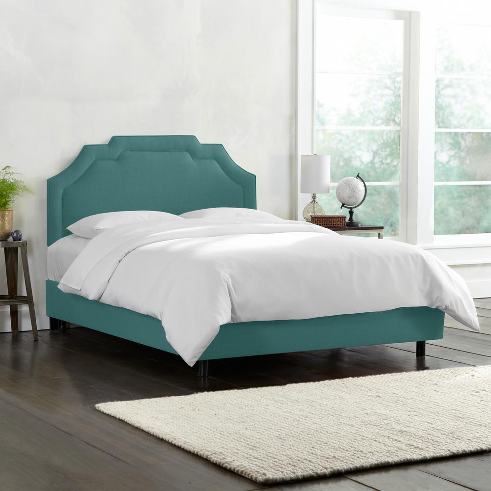 Leona Linen Laguna  Full Upholstered Border Bed