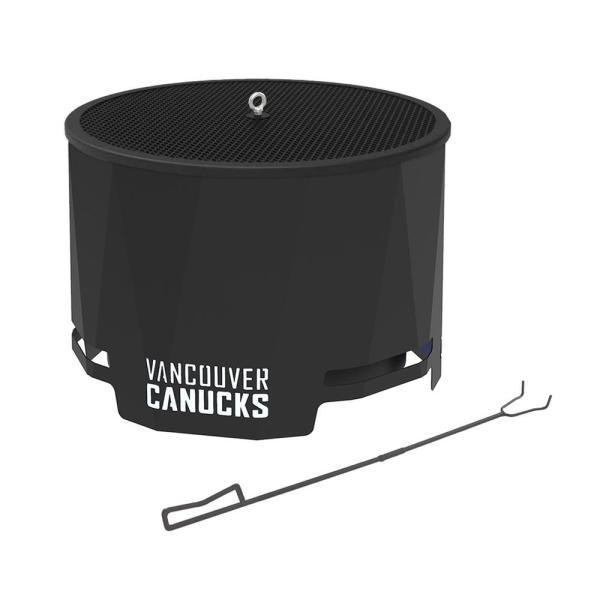 The Peak NHL 24 in. x 16 in. Round Steel Wood Patio Fire Pit with Spark Screen and Poker- Vancouver Canucks