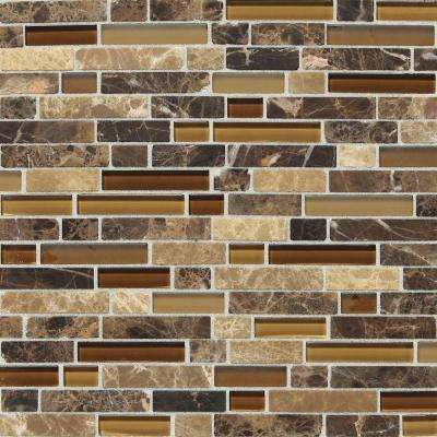 Stone Radiance Butternut Emperador 11-3/4 in. x 12-1/2 in. x 8 mm Glass and Stone Mosaic Blend Wall Tile