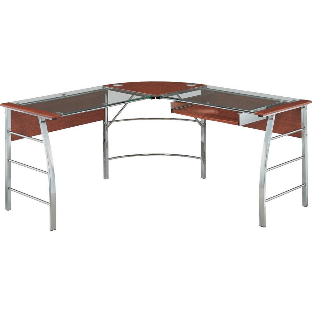Jefferson Glass Top Cherry 1-Piece L Shape Desk