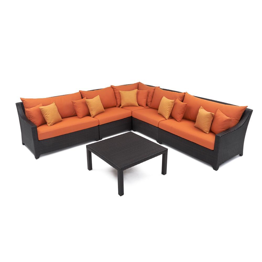 Deco 6-Piece Wicker Patio Sectional Seating Set with Tikka Orange Cushions