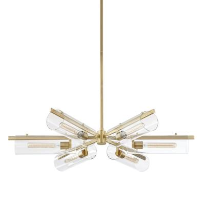 Ariel 6-Light Aged Brass Chandelier with Clear Shade
