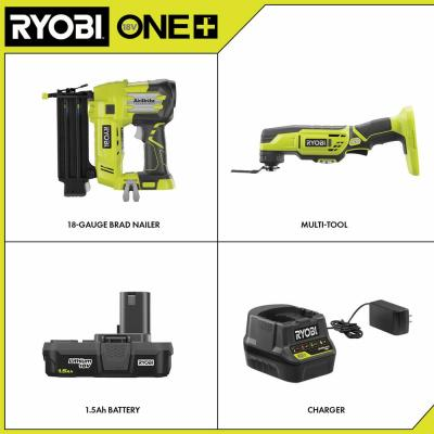 18V ONE+ Cordless 18-Gauge Brad Nailer and Multi-Tool Combo Kit with (1) 1.5 Ah Battery and Charger