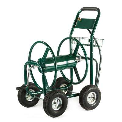 300 ft. Outdoor Yard Water Hose Reel Cart with Steel Basket