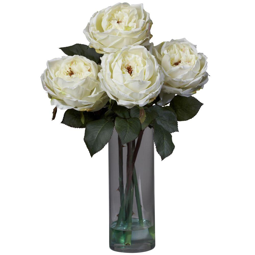 18 In H White Fancy Rose With Cylinder Vase Silk Flower Arrangement