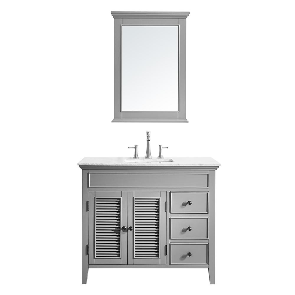 Vinnova Piedmont 42 in. W x 23 in. D Vanity in Grey with Marble Vanity Top in White with Basin and Mirror