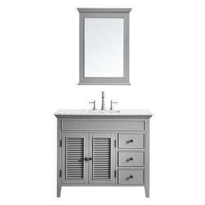 Piedmont 42 in. W x 23 in. D Vanity in Grey with Marble Vanity Top in White with Basin and Mirror