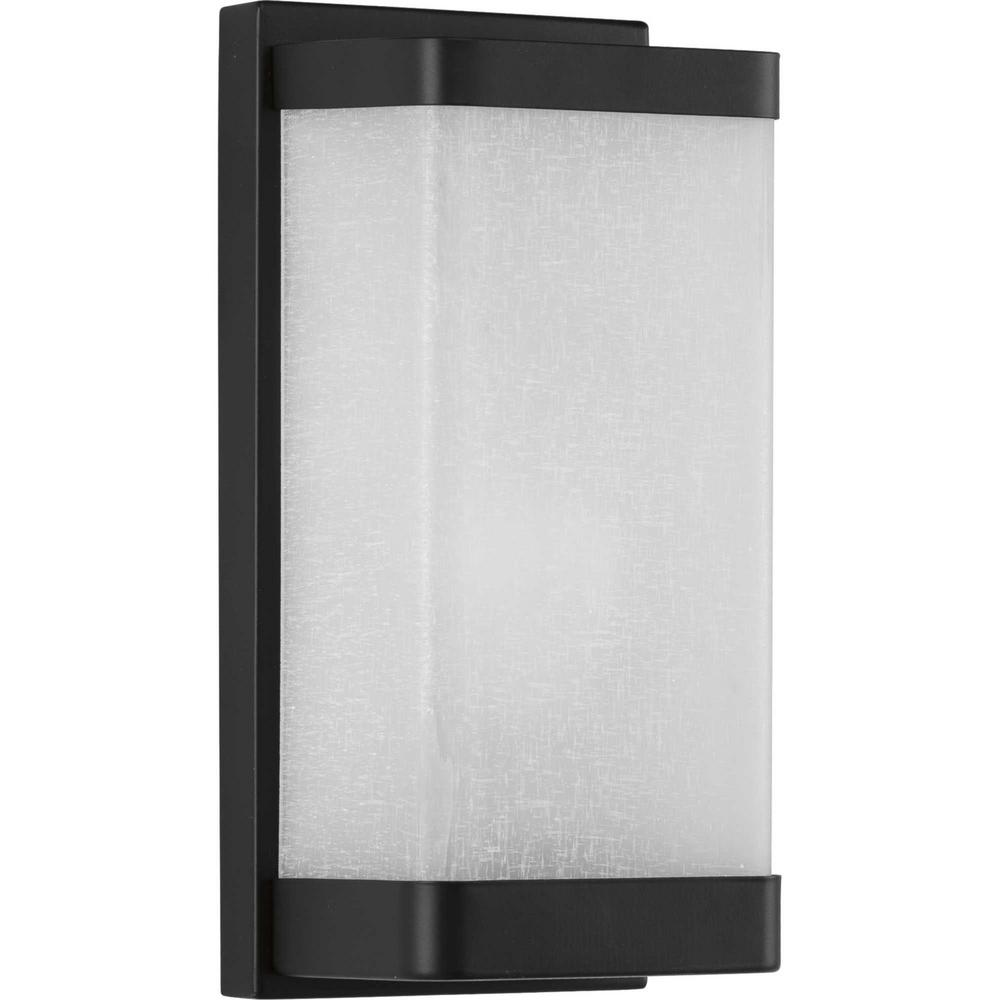 Progress Lighting 1 Light Linen Gl Black Wall Sconce