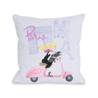 Paris Girl on Moped 16 in. x 16 in. Decorative Pillow