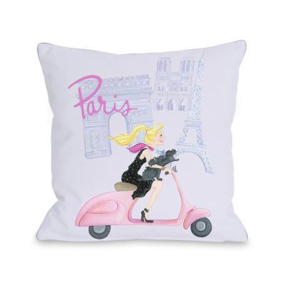 Paris Girl On Moped Purple Graphic Polyester 16 in. x 16 in. Throw Pillow