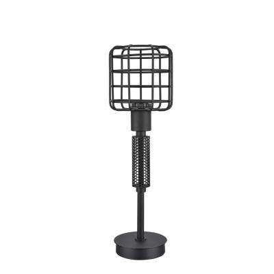 18 in. Sand Black Wire Cage Metal Table Lamp