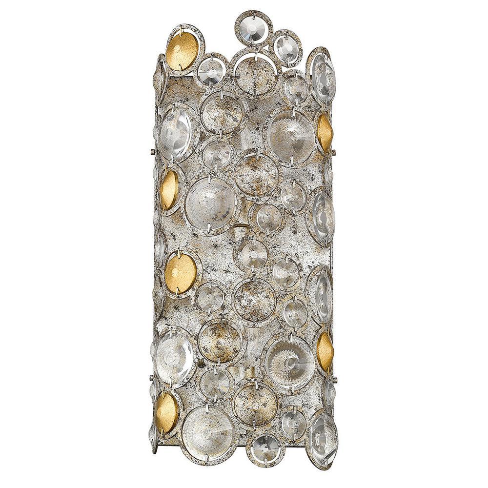 Vitozzi 2-Light Antique Silver Leaf Sconce
