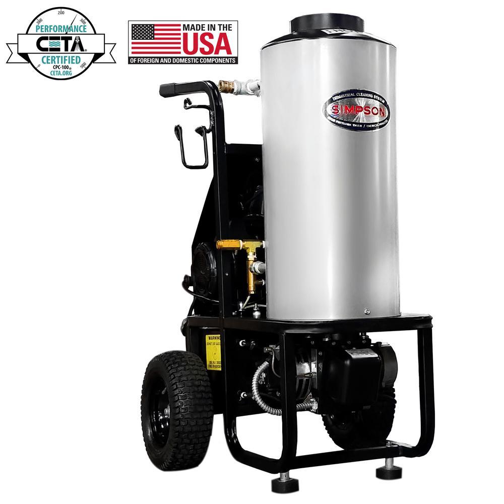 Mini Brute 1500 psi at 1.8 GPM with Triplex Pump Belt Drive Hot Water Professional Electric Pressure Washer
