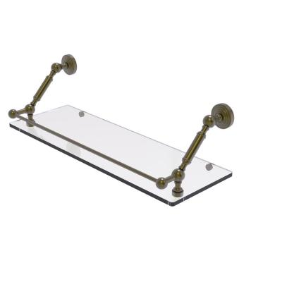 Waverly Place 24 in. Floating Glass Shelf with Gallery Rail in Antique Brass