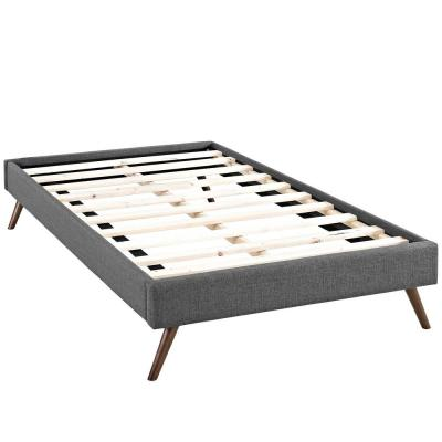 Loryn Gray Twin Bed Frame with Round Splayed Legs